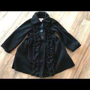 Copper Key black girls 2/3 dressy winter pea coat